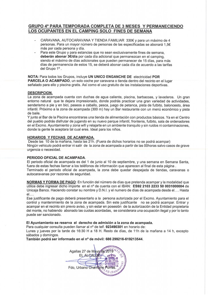 TARIFAS DEFINITIVAS CAMPING AGALLAS 2