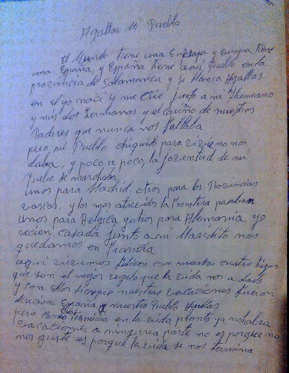 CARTA DE UN EMIGRANTE.JULIA CORCHETE